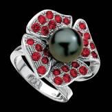 Schwarzer Perlenring Eternal Flower