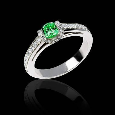 Verlobungsring mit Smaragd in Weissgold Hera
