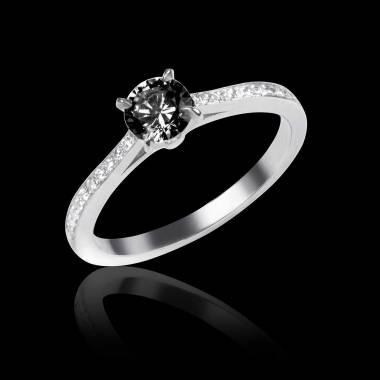 Verlobungsring mit schwarzem Diamant in Weissgold Elodie