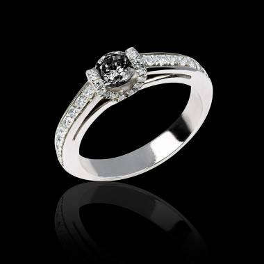 Verlobungsring mit schwarzem Diamant in Weissgold Hera