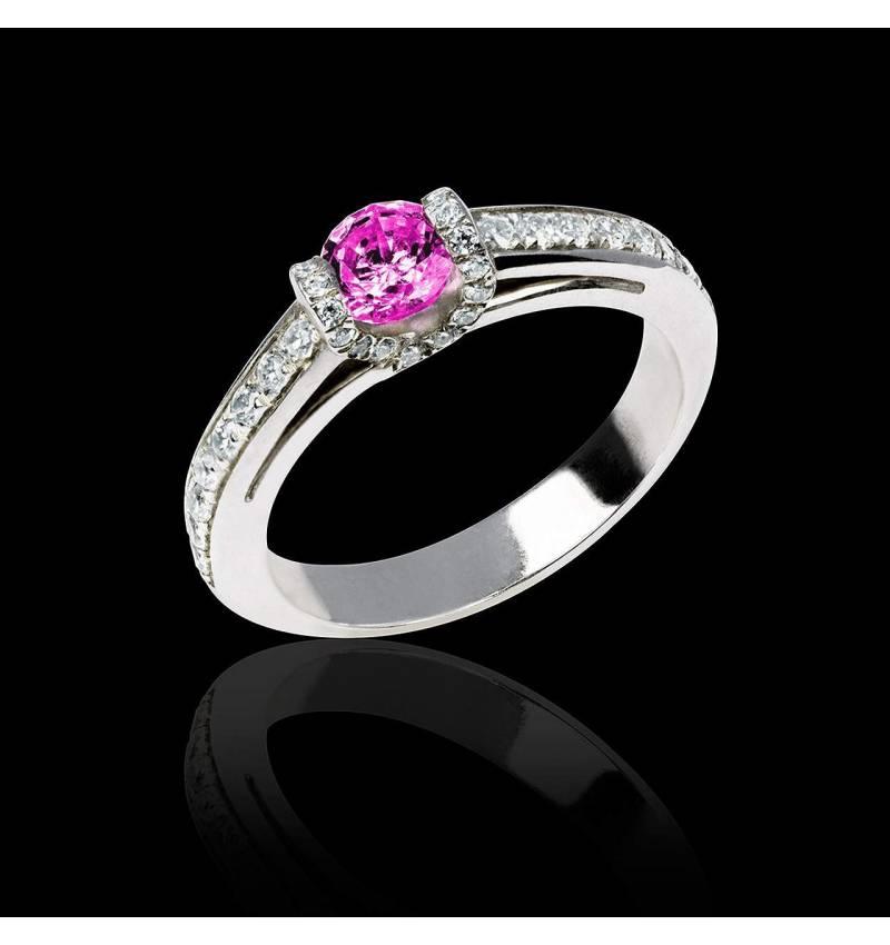 Verlobungsring mit rosa Saphir in Weissgold Hera
