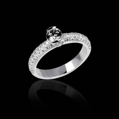Verlobungsring mit schwarzem Diamant in Weissgold Orphée