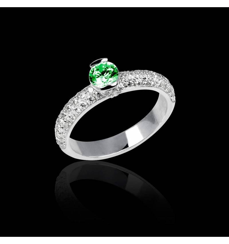 Verlobungsring mit Smaragd in Weissgold Orphée