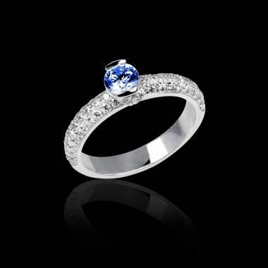Verlobungsring mit blauem Saphir in Weissgold Orphée