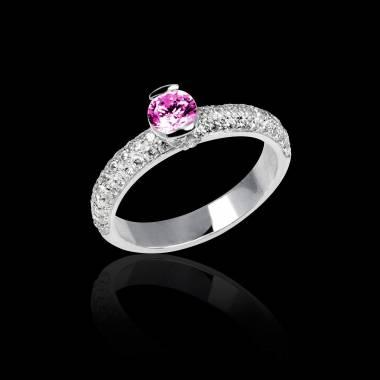 Verlobungsring mit rosa Saphir in Weissgold Orphée