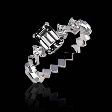Verlobungsring mit schwarzem Diamant in Weissgold Elsa