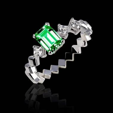 Verlobungsring mit Smaragd in Weissgold Elsa