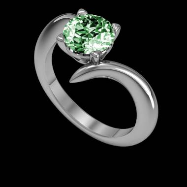 Verlobungsring mit Smaragd in Weissgold Serpentine