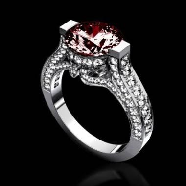 Verlobungsring mit Rubin und Diamant Pavé in Weissgold Mount Olympus