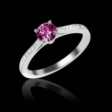 Verlobungsring mit rosa Saphir in Weissgold Elodie