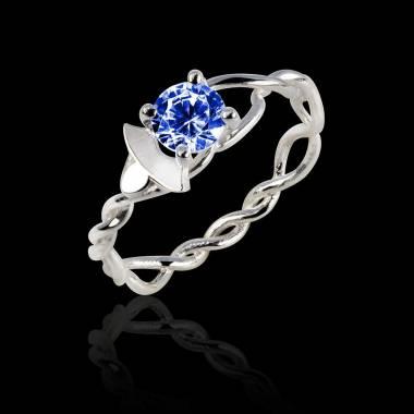 Verlobungsring mit blauem Saphir in Weissgold Vigne