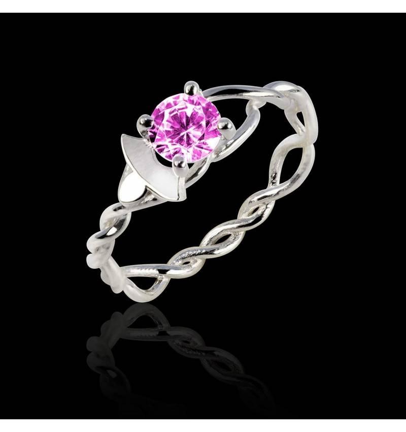 Verlobungsring mit rosa Saphir in Weissgold Vigne