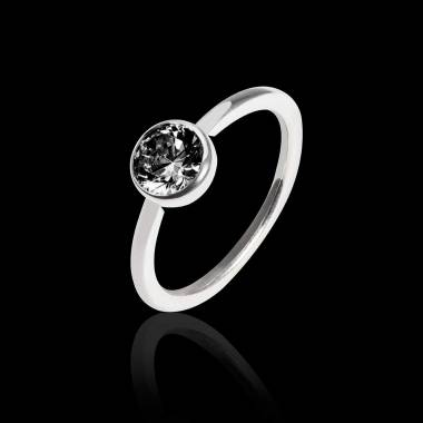 Schwarzer Diamantring in Weissgold Cristina