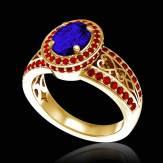 Verlobungsring mit blauem Saphir in Weissgold Tsarine