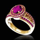 Verlobungsring mit rosa Saphir in Weissgold Tsarine