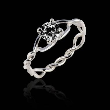 Schwarzer Diamantring in Weissgold Entrelassée