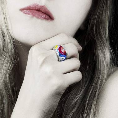 Lackring mit Diamanten in Weissgold Color Pop