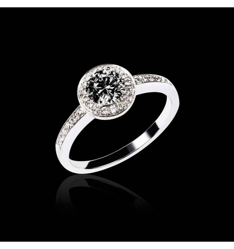 Schwarzer Diamantring in Weissgold Rekha