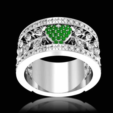 Verlobungsring mit Smaragd in Weissgold Flowers of Love