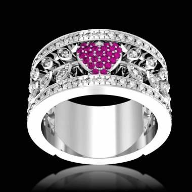 Verlobungsring mit rosa Saphir in Weissgold Flowers of Love