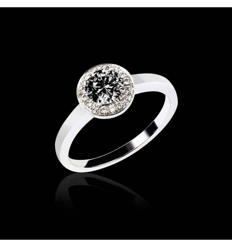 Schwarzer Diamantring in Weissgold Rekha Solo
