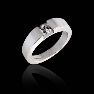 Verlobungsring mit rundem, schwarzem Diamant in Weissgold Pyramide