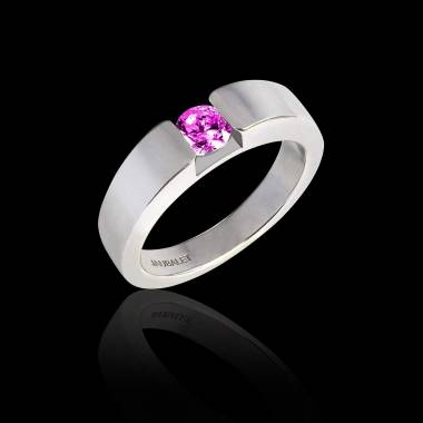 Verlobungsring mit rundem, rosa Saphir in Weissgold Pyramide