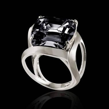 Schwarzer Diamantsolitärring in Weissgold Future Solo