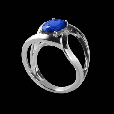 Runder, blauer Saphirsolitärring in Weissgold Future Solo
