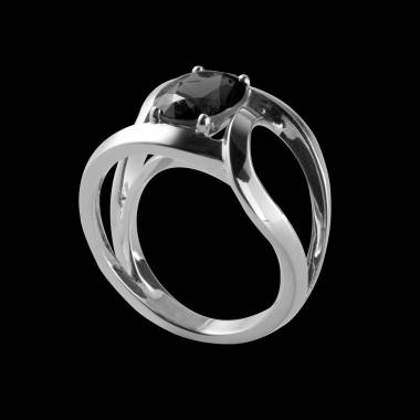 Runder, schwarzer Diamantsolitärring in Weissgold Future Solo