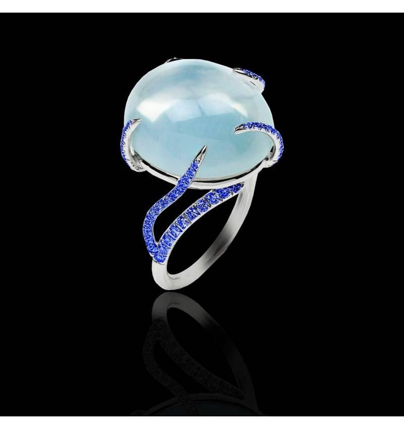 Blauer Saphirring Pierre de Lune