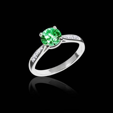 Verlobungsring mit Smaragd in Weissgold Angela