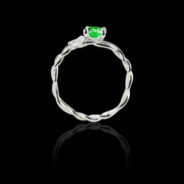 Verlobungsring mit Smaragd in Weissgold Vigne