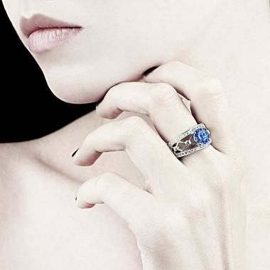 Runder, blauer Saphirring Regina Suprema