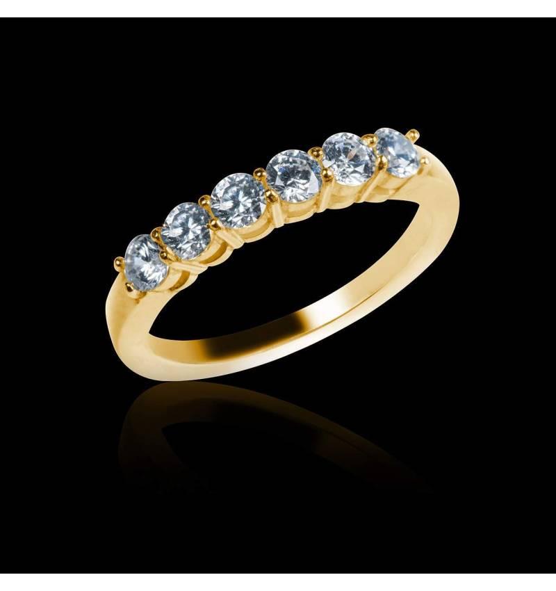 Trauring in Gelbgold mit Diamanten Cassiopa