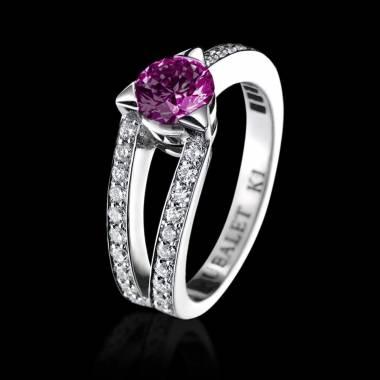 Verlobungsring mit rosa Saphir in Weissgold Plena Luna