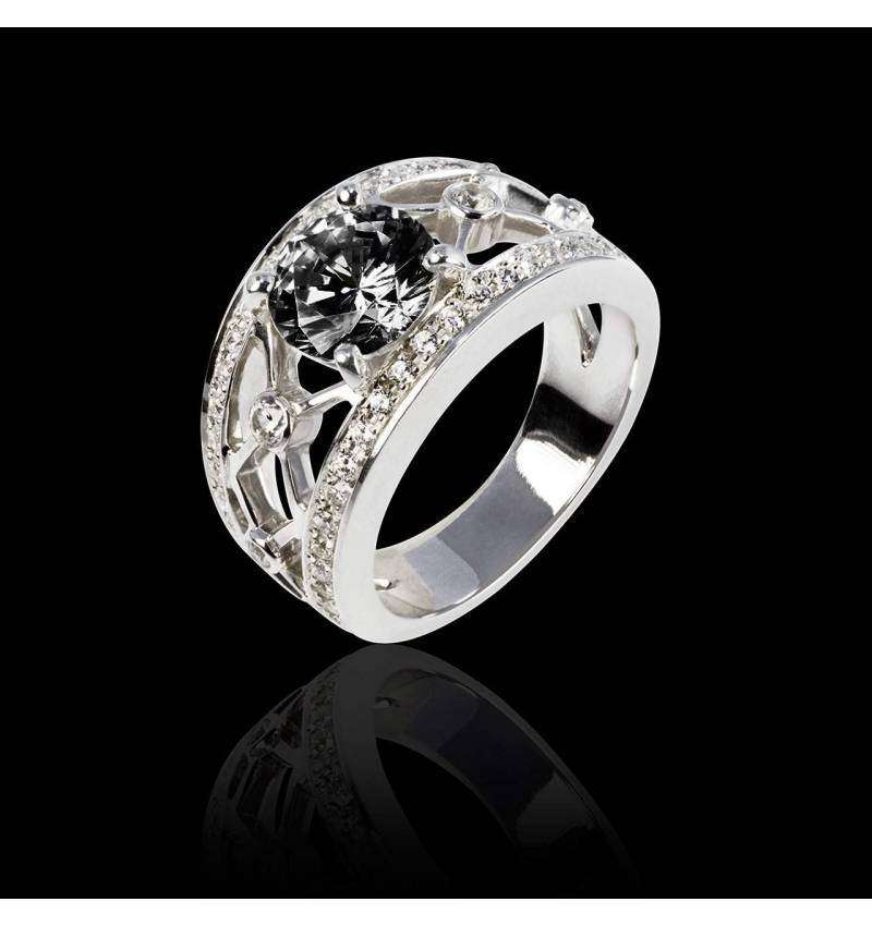 Runder, schwarzer Diamantring in Weissgold Regina Suprema