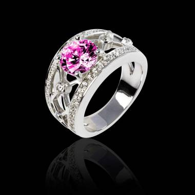 Bague saphir rose forme rond pavage diamant or blanc Regina Suprema