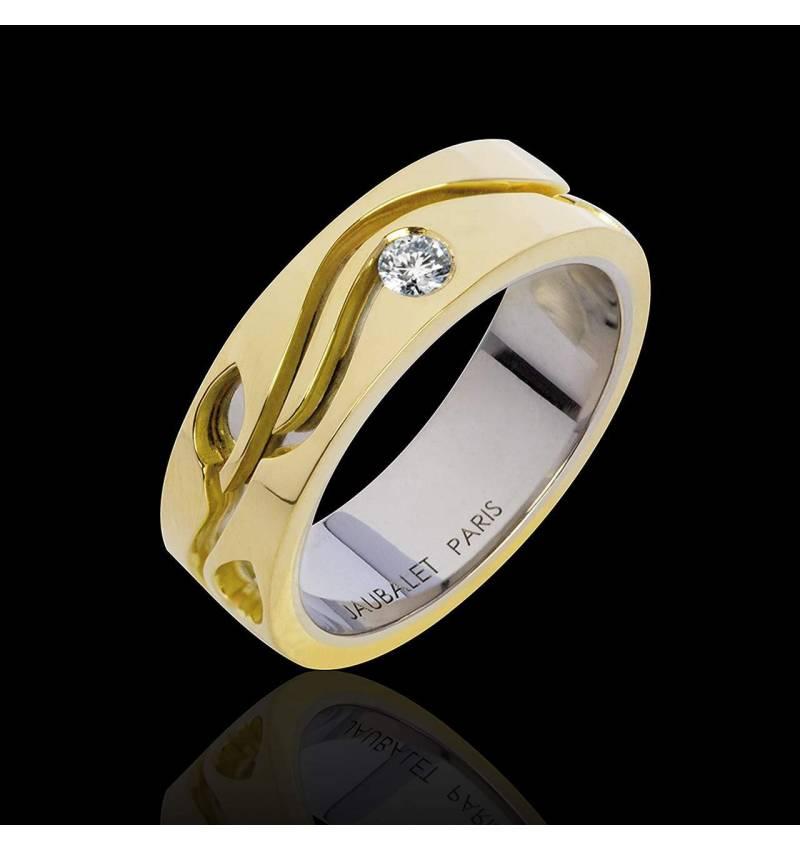 Trauring in Gelbgold mit Diamant Elena