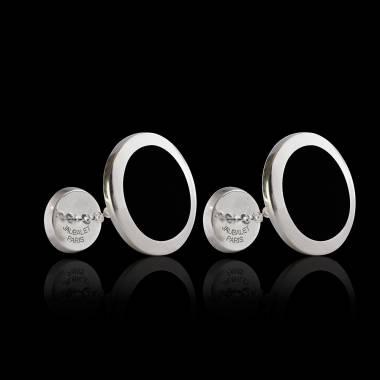 Manschettenknöpfe aus palladiniertem Silber chevalière Ovalis Onyx