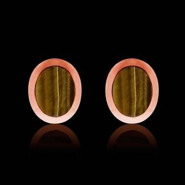 Rosévergoldete Manschettenknöpfe chevalière Ovalis Tigerauge