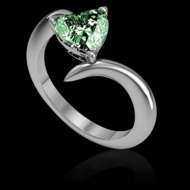 Verlobungsring mit Smaragd in Herzform Serpentine