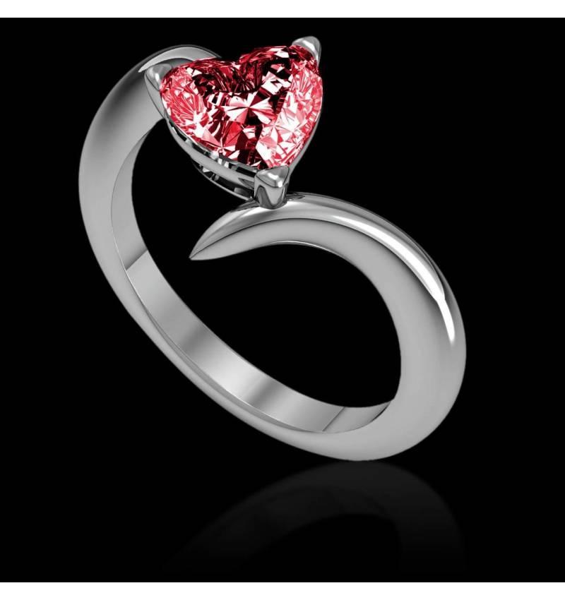 Verlobungsring mit Rubin in Herzform Serpentine