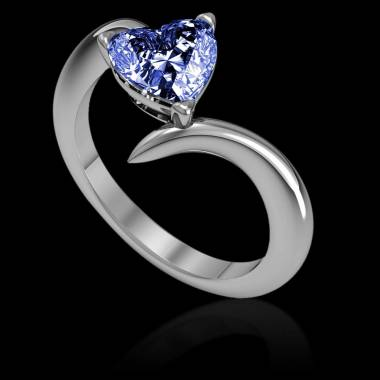 Verlobungsring mit blauem Saphir in Herzform Serpentine