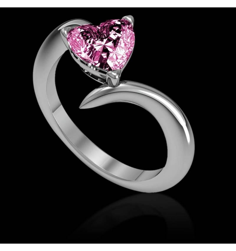 Verlobungsring mit rosa Saphir in Herzform Serpentine