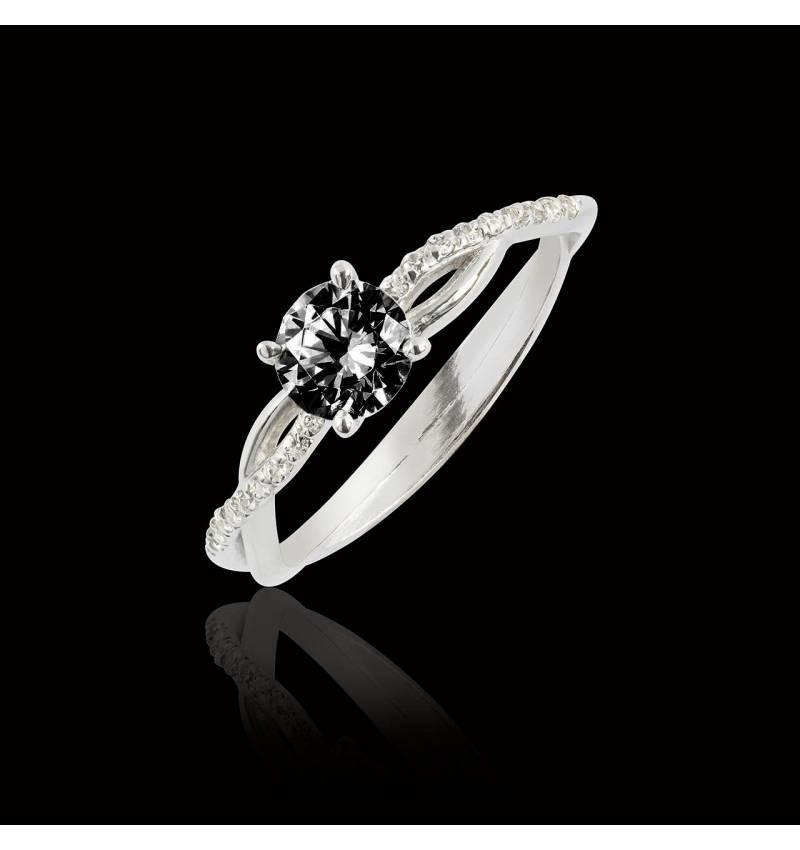Bague de fiançailles diamant noir Noémie