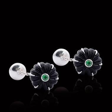Manschettenknöpfe aus palladiniertem Silber mit Onyx Bellis