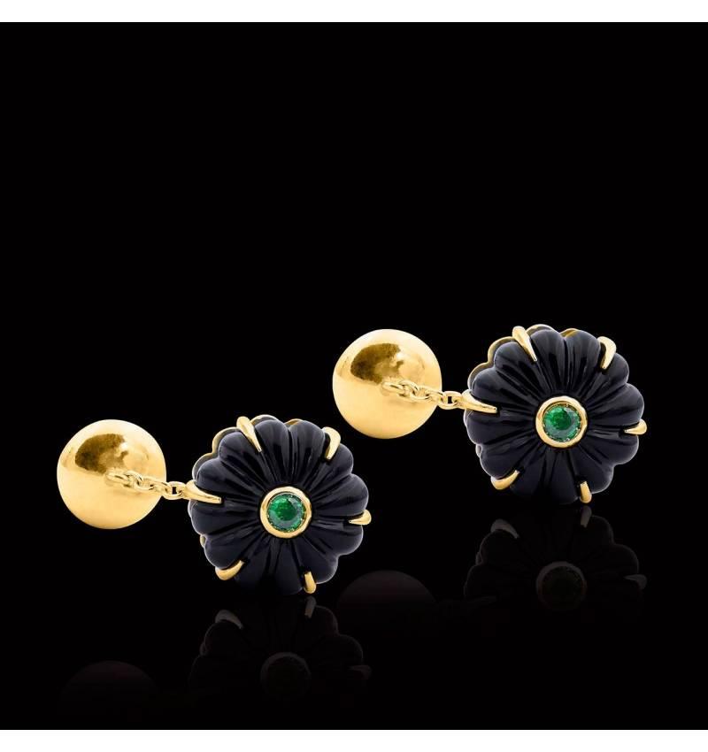 Vergoldete Manschettenknöpfe aus Silber mit Onyx Bellis
