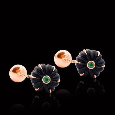 Rosévergoldete Manschettenknöpfe aus Silber mit Onyx Bellis