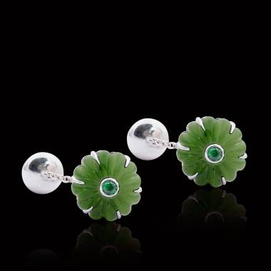 Manschettenknöpfe aus palladiniertem Silber mit Jade Bellis